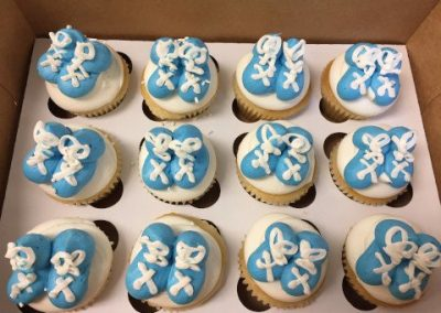 Baby Boy Booties cupcakes