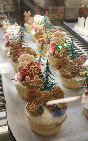 tray of christmas cupcakes in the display case at The Bakery Shoppe in Huntersville, NC