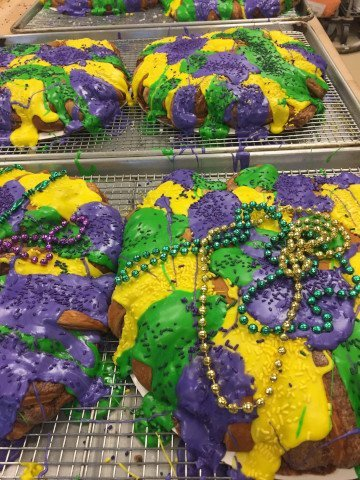 Purple, Gold, and Green Mardi Gras King Cake at The Bakery Shoppe in Huntersville NC