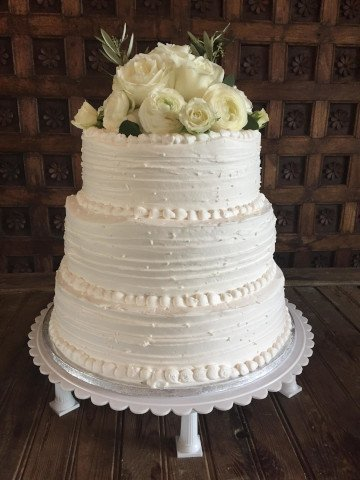 3 Tier Wedding Cake with flowers on top