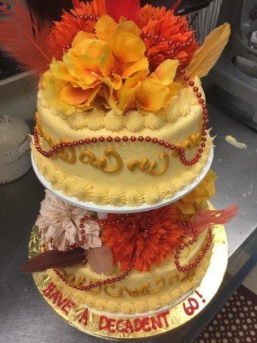 60th Birthday, 2 tier cake