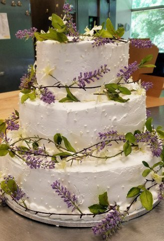 3 tier wedding cake with vines wrapping each tier