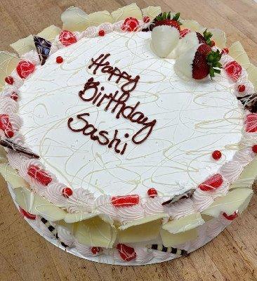 "14"" Raspberry Fan Torte Cake with custom writing"